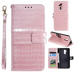 Luxury Crocodile Magnetic Leather Wallet Phone Case for Huawei Mate 20 Lite - Rose Gold