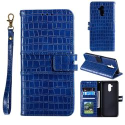 Luxury Crocodile Magnetic Leather Wallet Phone Case for Huawei Mate 20 Lite - Blue