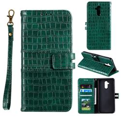 Luxury Crocodile Magnetic Leather Wallet Phone Case for Huawei Mate 20 Lite - Green