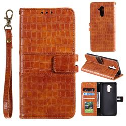 Luxury Crocodile Magnetic Leather Wallet Phone Case for Huawei Mate 20 Lite - Brown