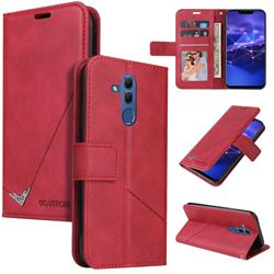GQ.UTROBE Right Angle Silver Pendant Leather Wallet Phone Case for Huawei Mate 20 Lite - Red