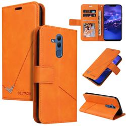 GQ.UTROBE Right Angle Silver Pendant Leather Wallet Phone Case for Huawei Mate 20 Lite - Orange