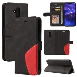 Luxury Two-color Stitching Leather Wallet Case Cover for Huawei Mate 20 Lite - Black