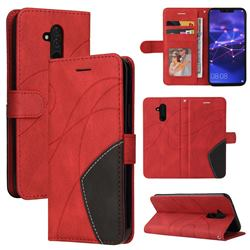 Luxury Two-color Stitching Leather Wallet Case Cover for Huawei Mate 20 Lite - Red