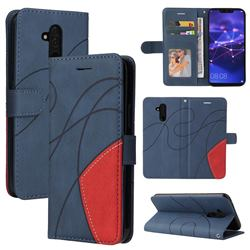 Luxury Two-color Stitching Leather Wallet Case Cover for Huawei Mate 20 Lite - Blue