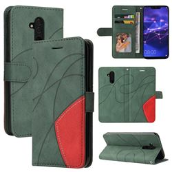 Luxury Two-color Stitching Leather Wallet Case Cover for Huawei Mate 20 Lite - Green