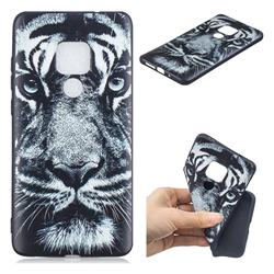 White Tiger 3D Embossed Relief Black TPU Cell Phone Back Cover for Huawei Mate 20 Pro