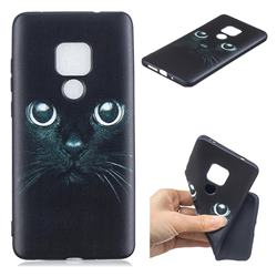 Bearded Feline 3D Embossed Relief Black TPU Cell Phone Back Cover for Huawei Mate 20 Pro