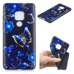 Phnom Penh Butterfly 3D Embossed Relief Black TPU Cell Phone Back Cover for Huawei Mate 20 Pro