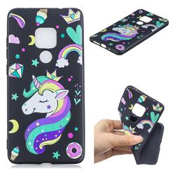 Candy Unicorn 3D Embossed Relief Black TPU Cell Phone Back Cover for Huawei Mate 20 Pro