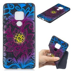 Colorful Lace 3D Embossed Relief Black TPU Cell Phone Back Cover for Huawei Mate 20 Pro
