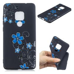 Little Blue Flowers 3D Embossed Relief Black TPU Cell Phone Back Cover for Huawei Mate 20 Pro
