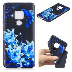Blue Butterfly 3D Embossed Relief Black TPU Cell Phone Back Cover for Huawei Mate 20 Pro