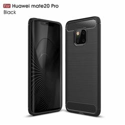 Luxury Carbon Fiber Brushed Wire Drawing Silicone TPU Back Cover for Huawei Mate 20 Pro - Black