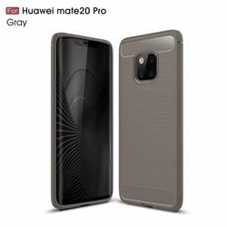 Luxury Carbon Fiber Brushed Wire Drawing Silicone TPU Back Cover for Huawei Mate 20 Pro - Gray