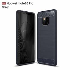 Luxury Carbon Fiber Brushed Wire Drawing Silicone TPU Back Cover for Huawei Mate 20 Pro - Navy