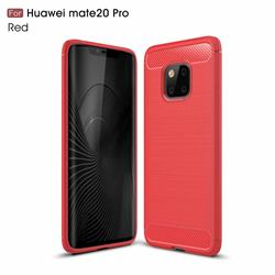 Luxury Carbon Fiber Brushed Wire Drawing Silicone TPU Back Cover for Huawei Mate 20 Pro - Red