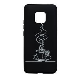 Coffee Cup Stick Figure Matte Black TPU Phone Cover for Huawei Mate 20 Pro