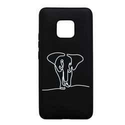 Elephant Stick Figure Matte Black TPU Phone Cover for Huawei Mate 20 Pro