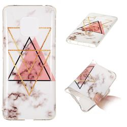 Inverted Triangle Powder Soft TPU Marble Pattern Phone Case for Huawei Mate 20 Pro
