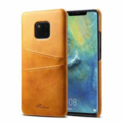 Suteni Retro Classic Card Slots Calf Leather Coated Back Cover for Huawei Mate 20 Pro - Khaki