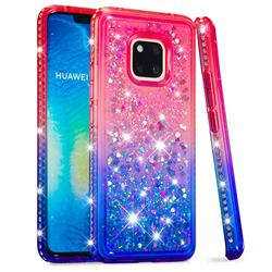 Diamond Frame Liquid Glitter Quicksand Sequins Phone Case for Huawei Mate 20 Pro - Pink Blue