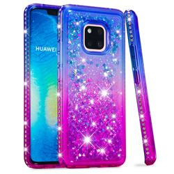 Diamond Frame Liquid Glitter Quicksand Sequins Phone Case for Huawei Mate 20 Pro - Blue Purple