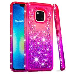 Diamond Frame Liquid Glitter Quicksand Sequins Phone Case for Huawei Mate 20 Pro - Pink Purple