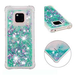 Dynamic Liquid Glitter Sand Quicksand TPU Case for Huawei Mate 20 Pro - Green Love Heart