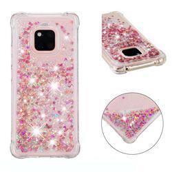Dynamic Liquid Glitter Sand Quicksand TPU Case for Huawei Mate 20 Pro - Rose Gold Love Heart