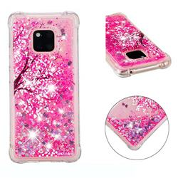 Pink Cherry Blossom Dynamic Liquid Glitter Sand Quicksand Star TPU Case for Huawei Mate 20 Pro