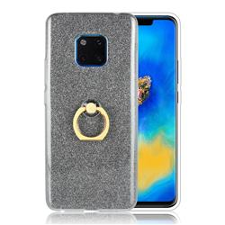 Luxury Soft TPU Glitter Back Ring Cover with 360 Rotate Finger Holder Buckle for Huawei Mate 20 Pro - Black