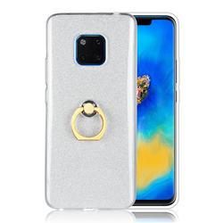 Luxury Soft TPU Glitter Back Ring Cover with 360 Rotate Finger Holder Buckle for Huawei Mate 20 Pro - White