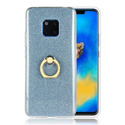Luxury Soft TPU Glitter Back Ring Cover with 360 Rotate Finger Holder Buckle for Huawei Mate 20 Pro - Blue
