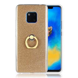 Luxury Soft TPU Glitter Back Ring Cover with 360 Rotate Finger Holder Buckle for Huawei Mate 20 Pro - Golden