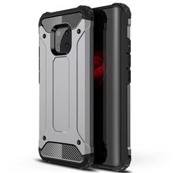 King Kong Armor Premium Shockproof Dual Layer Rugged Hard Cover for Huawei Mate 20 Pro - Silver Grey