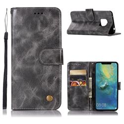 Luxury Retro Leather Wallet Case for Huawei Mate 20 Pro - Gray