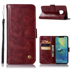 Luxury Retro Leather Wallet Case for Huawei Mate 20 Pro - Wine Red
