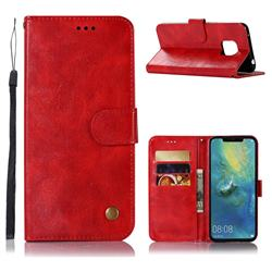 Luxury Retro Leather Wallet Case for Huawei Mate 20 Pro - Red