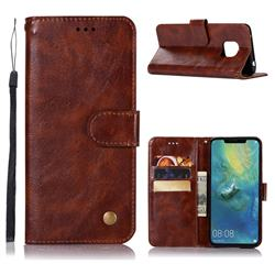 Luxury Retro Leather Wallet Case for Huawei Mate 20 Pro - Brown