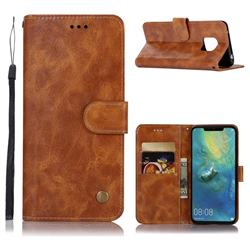Luxury Retro Leather Wallet Case for Huawei Mate 20 Pro - Golden