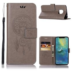 Intricate Embossing Owl Campanula Leather Wallet Case for Huawei Mate 20 Pro - Grey