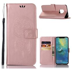 Intricate Embossing Owl Campanula Leather Wallet Case for Huawei Mate 20 Pro - Rose Gold