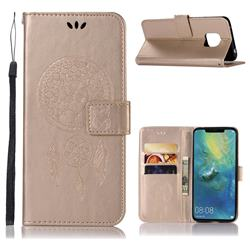 Intricate Embossing Owl Campanula Leather Wallet Case for Huawei Mate 20 Pro - Champagne