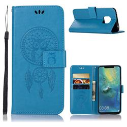 Intricate Embossing Owl Campanula Leather Wallet Case for Huawei Mate 20 Pro - Blue