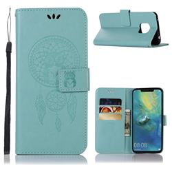 Intricate Embossing Owl Campanula Leather Wallet Case for Huawei Mate 20 Pro - Green