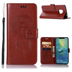 Intricate Embossing Owl Campanula Leather Wallet Case for Huawei Mate 20 Pro - Brown