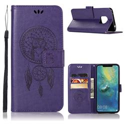 Intricate Embossing Owl Campanula Leather Wallet Case for Huawei Mate 20 Pro - Purple
