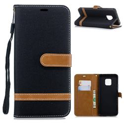 Jeans Cowboy Denim Leather Wallet Case for Huawei Mate 20 Pro - Black
