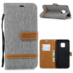 Jeans Cowboy Denim Leather Wallet Case for Huawei Mate 20 Pro - Gray
